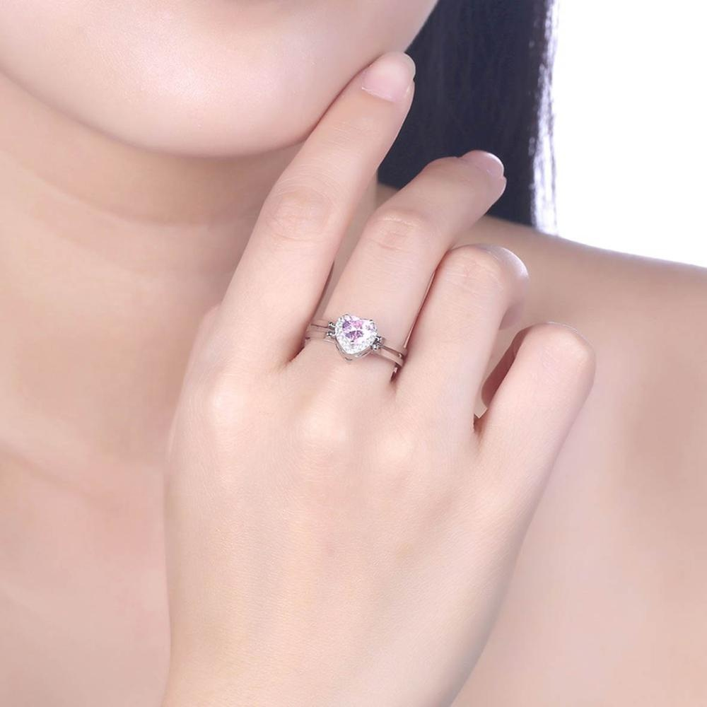 925 Sterling Silver Heart Two Colors Zircon Turn Over Women Reversible Rings