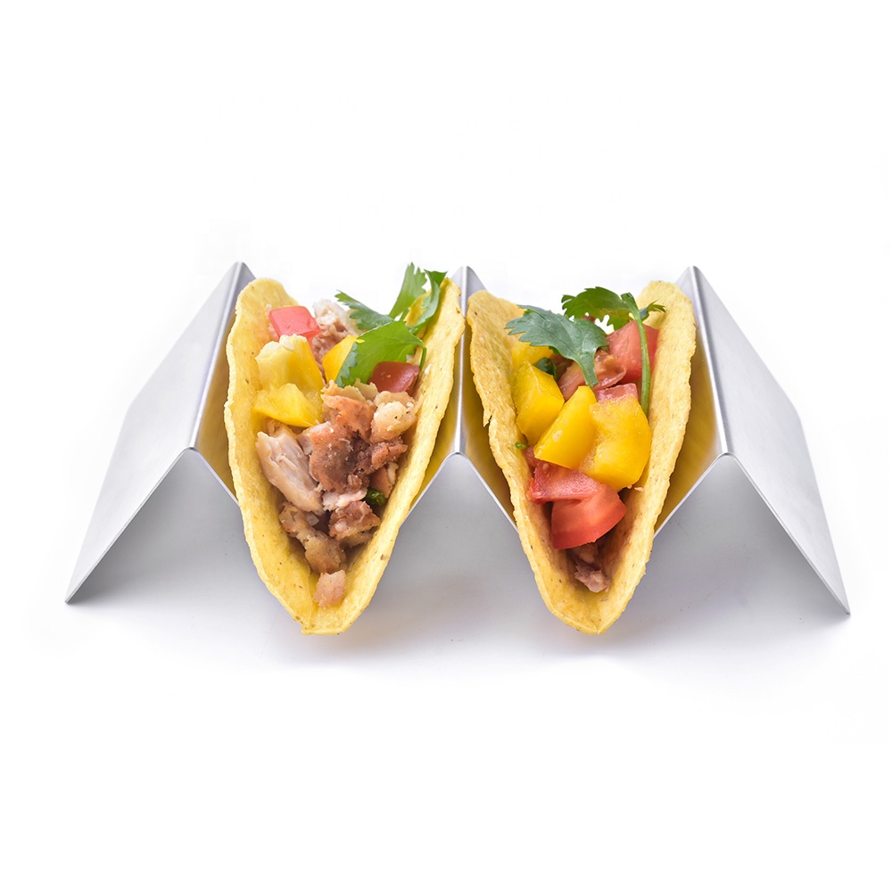 2 or 3 component stainless steel taco holder stand, taco holder