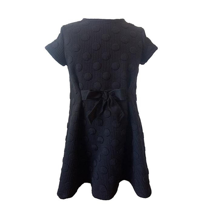 卸売oemカスタマイズされたロゴポリエステルまたはコットン高品質デザインの子黒ジャカードインターロックカジュアルキッズガールズドレス
