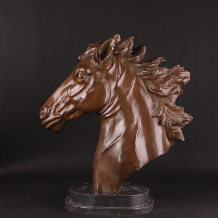 Home decor Moderne Animal Figuur-Decoratieve Antieke cast metal pure brons/messing paard hoofd standbeeld sculptuur
