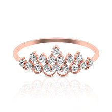 Gaya Art Deco Putri Mahkota Cincin Bulat Cincin Pertunangan Berlian Unik Vintage Beaded Bridal Wedding Ring