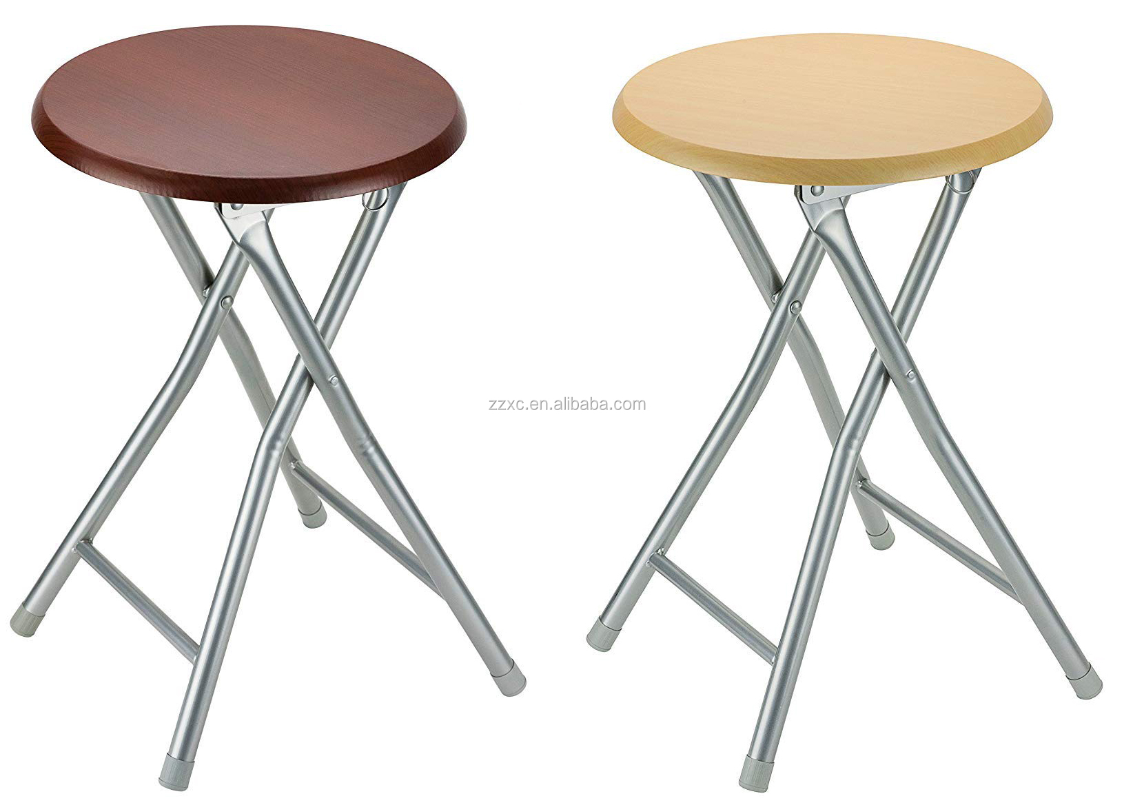 Round Wood Folding Stools With Metal Legs