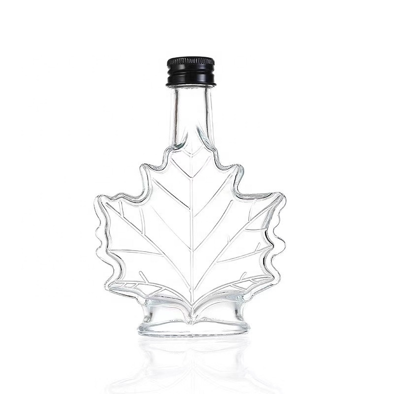 70ml 100ml 250ml maple leaf shape glass wine bottle for juice liquor vodka and whisky empty glass cough syrup bottle