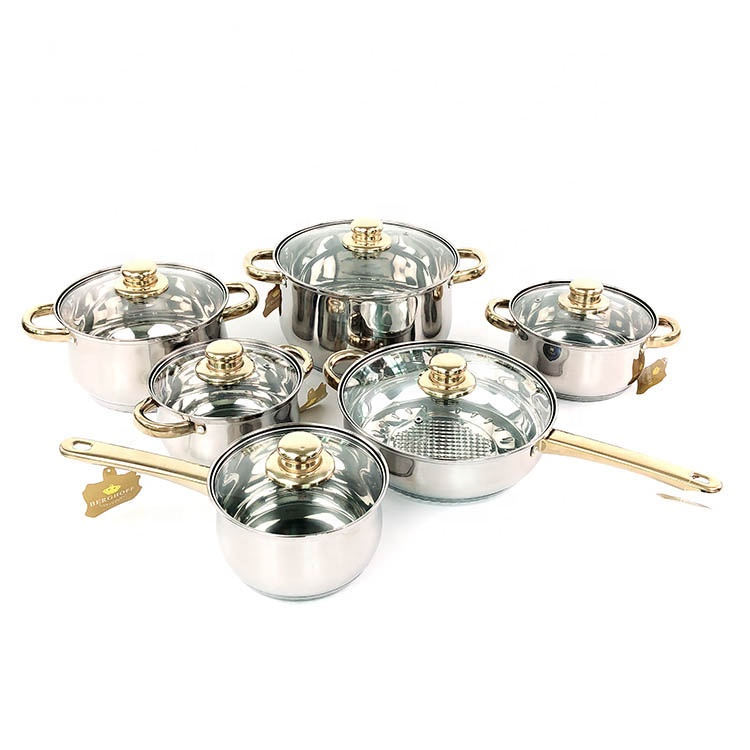 Best price of different type cookware set cooking pot 12 piece stainless steel cookware sets