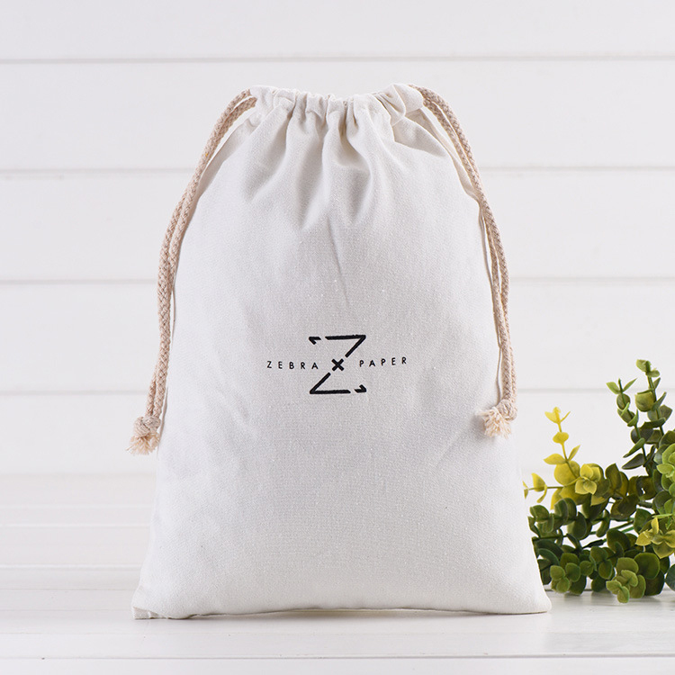 Custom White Bag Cotton Drawstring Pouch Personalized Logo Printed Gift Packaging Cosmetic Bags Jewelry Package Bag 12-pack