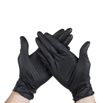 Wholesale premium quality box-packed black nitrile disposable gloves antiskid powder free nitrile examination glove