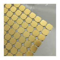 Aluminum Chain Mail Fabric For Bar Golden Metallic Sequin Cloth / Metal Mesh Fabric