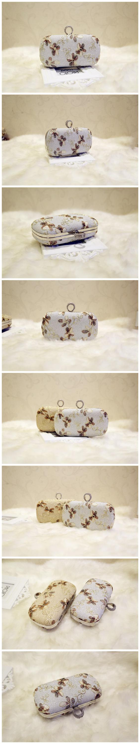 New ring hook strapless clutch embroidered small square dinner party mobile phone bag
