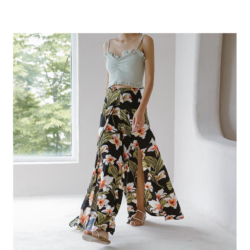 Pantaloni Donna Lato Fessura FASHION Loose pulsante Pantaloni Lunghi Casual Vita Alta 1 PZ