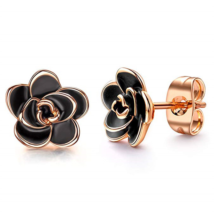 18K Gold Plated Black <strong>Rose</strong> <strong>Flower</strong> Stud <strong>Earrings</strong> for Women