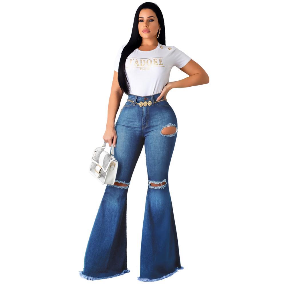 America Vintage Estilo Cintura Alta Jeans Agujero Mujeres Pierna Ancha Acampanada Jeans Denim Buy Alta Calidad Vaqueros Mujer Vaqueros Pantalones Vaqueros De Pierna Ancha Product On Alibaba Com