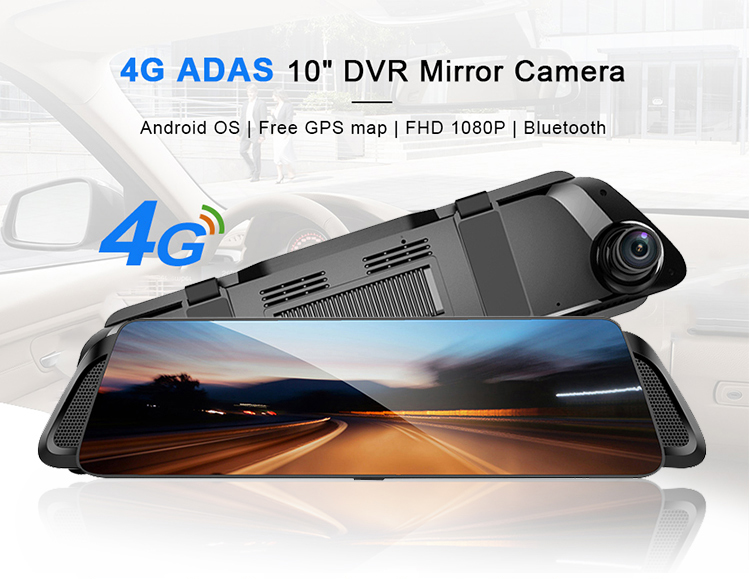 """2020 New Product ADAS 4G Car DVR 10"""" RearView Mirror Camera Full HD 1080P Android GPS driving Video Recorder Dash Cam"""