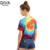 New Style Women Tie Dye Print Round Neck Multi Colour Short Sleeve Basic Crop Top T Shirt