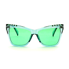HSP20726F001 Modern special tinted cat eye yellow green sun glasses women