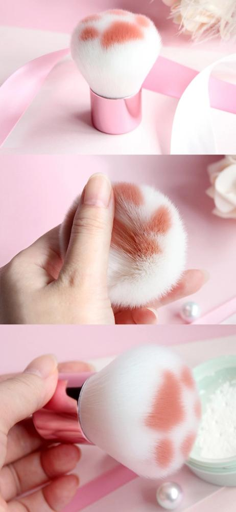Travel Portable Novelty Soft Synthetic Fiber Hair Cat Paw Claw Cosmetic Kabuki Powder Makeup Blush Brush