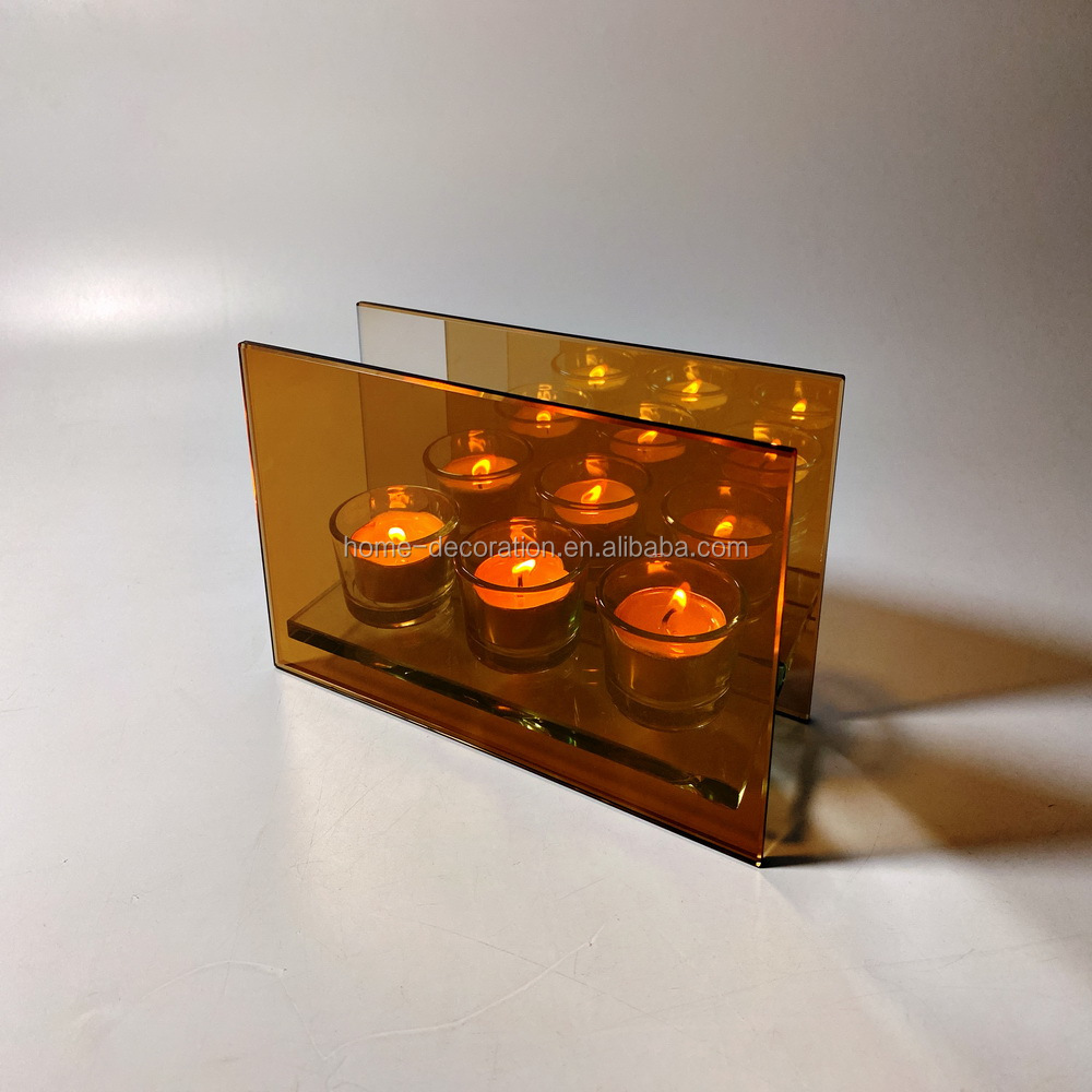 wholesale nordic style brown infinity glass candle holders made in china