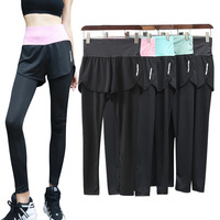 Women Pant Nylon Material False Two Pieces Compressiong culottes Legging Jogging Quick Dry Fitness Yoga Leggings pants