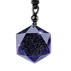 Starlight blue sand Obsidian Six Stars Pendant Necklace Men Sandstone Lucky Love Crystal Pendulum Energy Jewelry For Women
