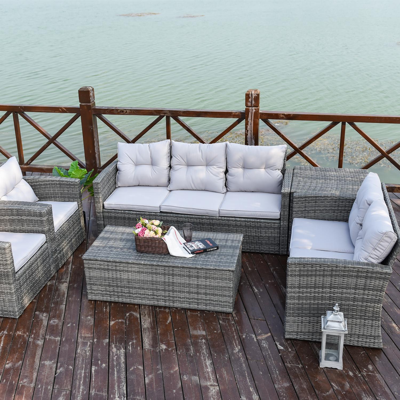 Diseño clásico jardín Patio de mimbre de ratán sofá con caja de almacenamiento
