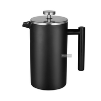 Factory Sale Directly Double Wall Matt Black Stainless Steel French Press 8 Cups Coffee Maker