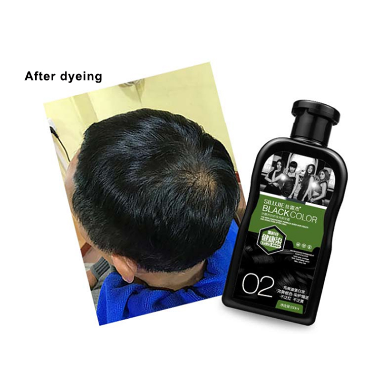 Magic black color 200M+200ML hair dye shampoo with special effects