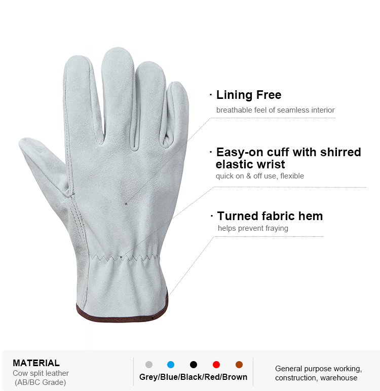 Hot sale cheap cow split leather driving automotive manufacturing working gloves with stretchable wrist