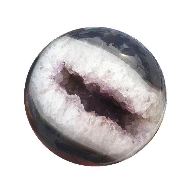 Brazil Crystal Open Smiling Crystal Ball Geode Agate Spheres For Home Decoration