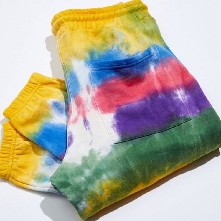 rainbow tie dye loose fit elastic waist mens custom joggers sweatpants