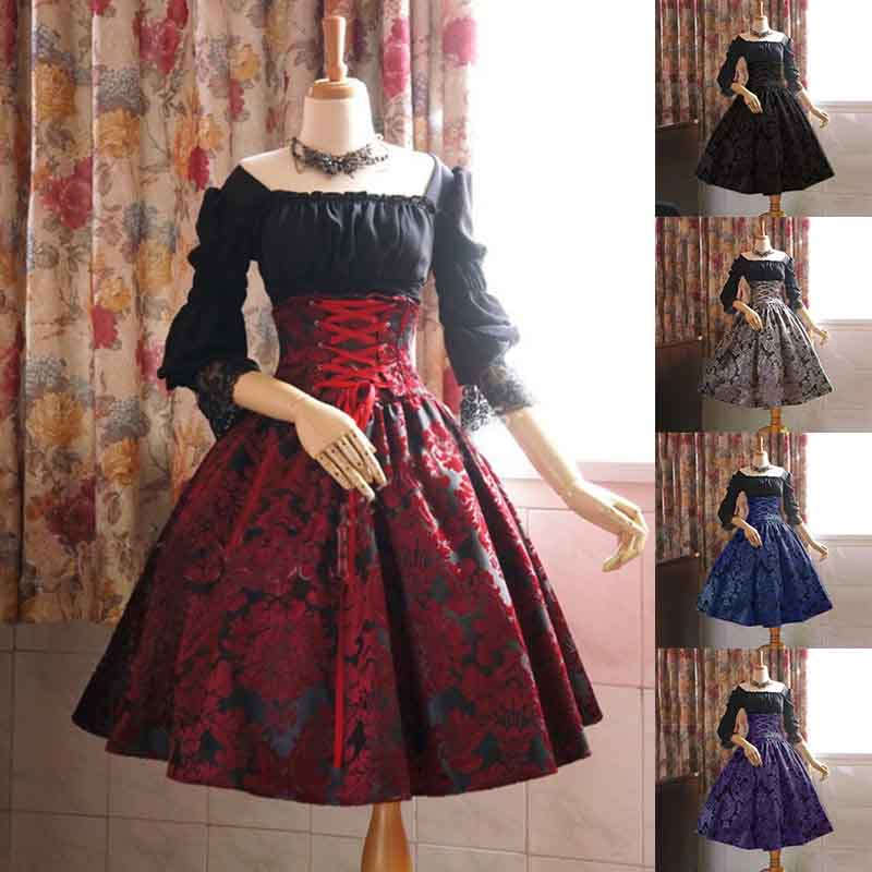 two-piece dress print high waist long sleeve lace Victoria Gothic black red gray ladies suit large size 5XL