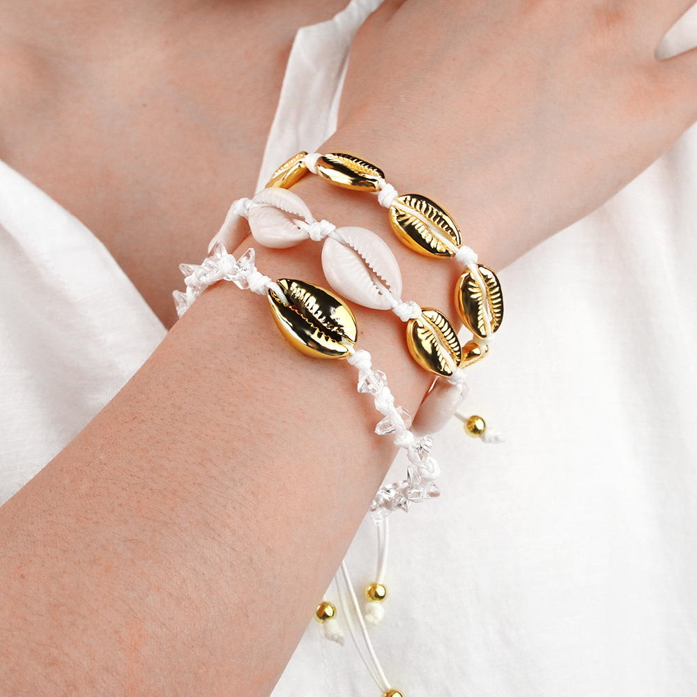 Bohemia beach style  natural shell bracelet women handmade crystal fashion alloy shell bracelet set