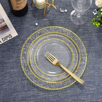 Elegant Appearance Gold Plated Plastic Disposable Plates