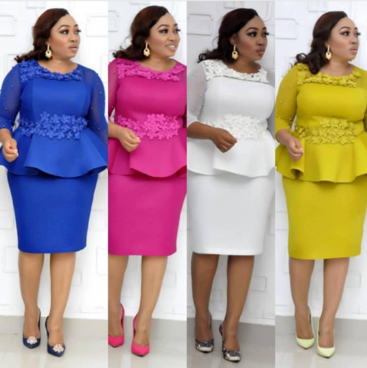 African Three-dimensional Rose Decorative Patchwork Mesh Plus Size Dress