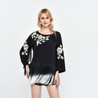 lady blouse korean style women clothes floral tassel embroidery shirt