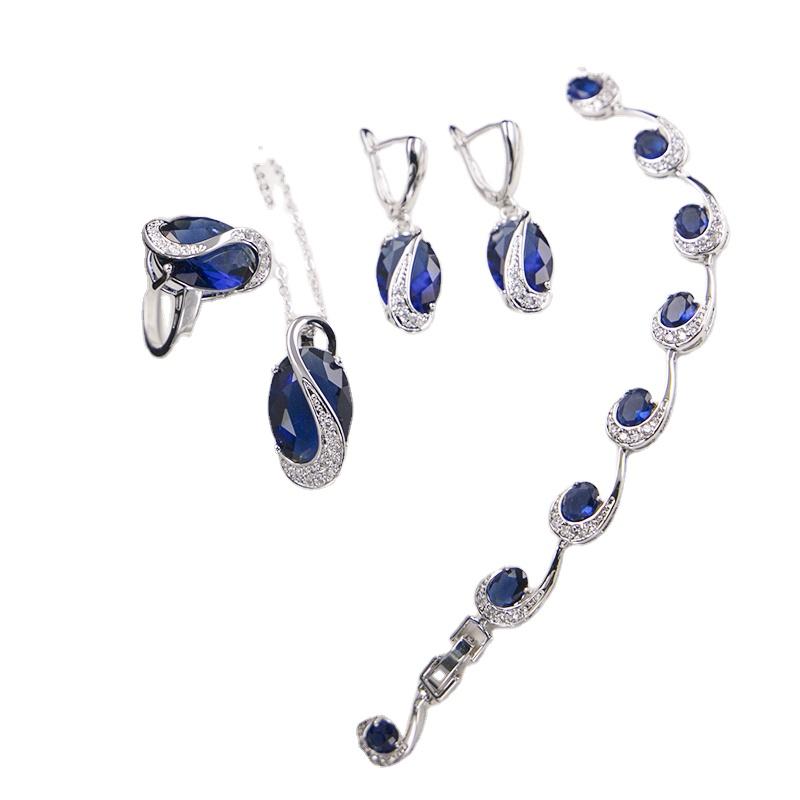 Trend ürünleri gümüş düğün gelin gül küpe yüzük kolye moda takı seti bisutería kadınlar için düğün parti hediye