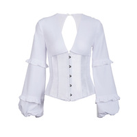 2020 New Dropshipping Long Lantern Sleeve Ladies Sexy V Neck Blouse Shirt Women Corset Bustier Tops