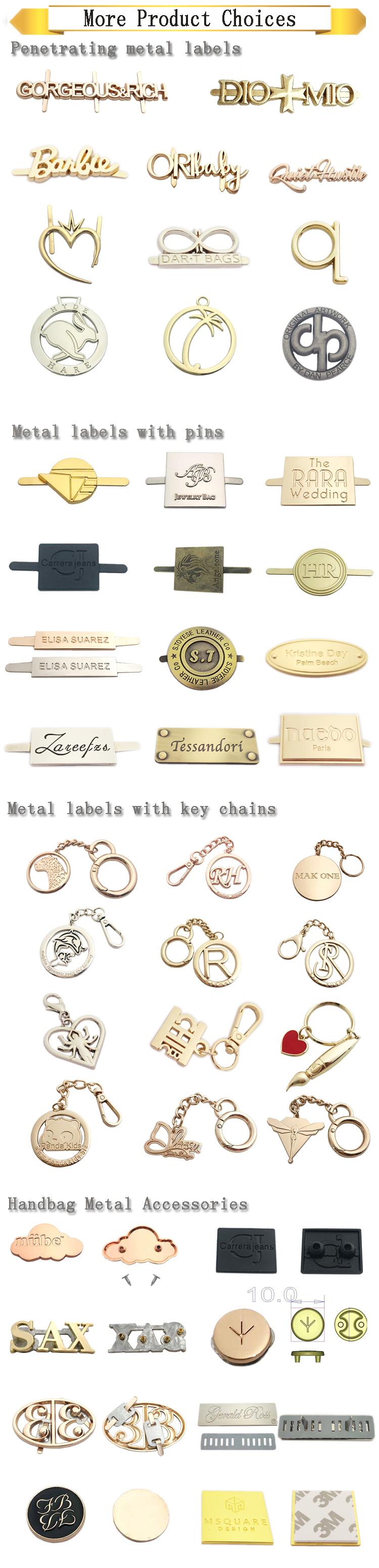 Logotipo personalizado fabricante artesanal de metal etiqueta de metal logotipo placa tag para bolsa
