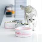 Free Sample Customize Luxury Wooden insulated Marble Pet Cat Dog Ceramic Dogs Bowl
