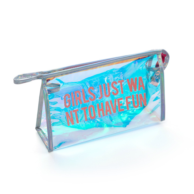 100% Pvc Dazzle Cosmetic Holographic Pvc Bag Plastic Hologram Bag Holographic Makeup Pvc Tote Bag