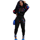 Women Hoodie Printed Fall Winter 2 Piece Set Women Hoodie Pants Printed Sweatsuit Pullover Sweatshirt Tracksuit Outfit