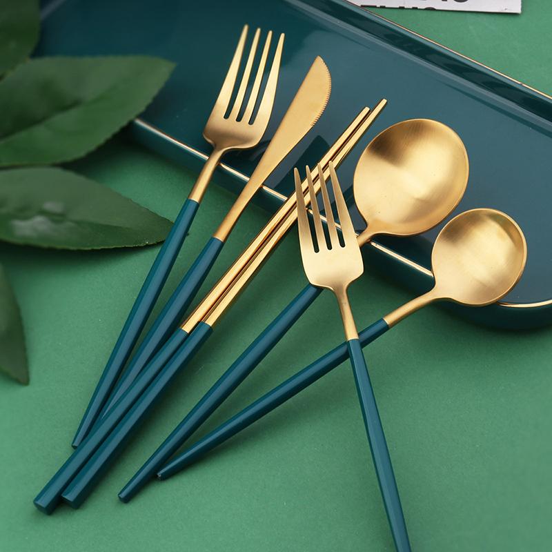 4Pcs Western Flatware Customized Colors Logo Spoon Fork Cutlery Set