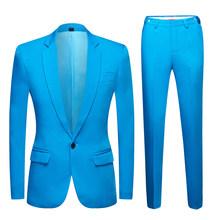 2020 новый мужской красочный свадебный костюм Блейзер размера плюс элегантный желтый зеленый синий фиолетовый костюм пиджак брюки 2 шт празд...(Китай)