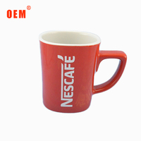 wholesale square ceramic porcelain red coffee cup