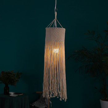 New Design OEM Handmade Macrame Lamp Cover Cotton Lampshade