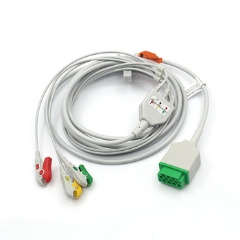 GE B20/B40 medical ecg cable, patient cable with 3leads clip IEC