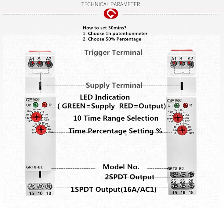 GEYA 2020 Top Sale GRT8-B Single-Function Time Relay W240 Voltage off Delay China Relay 12V