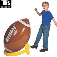 factory customized durable PVC inflatable giant football & tee plastic jumbo rugby ball toys for kids