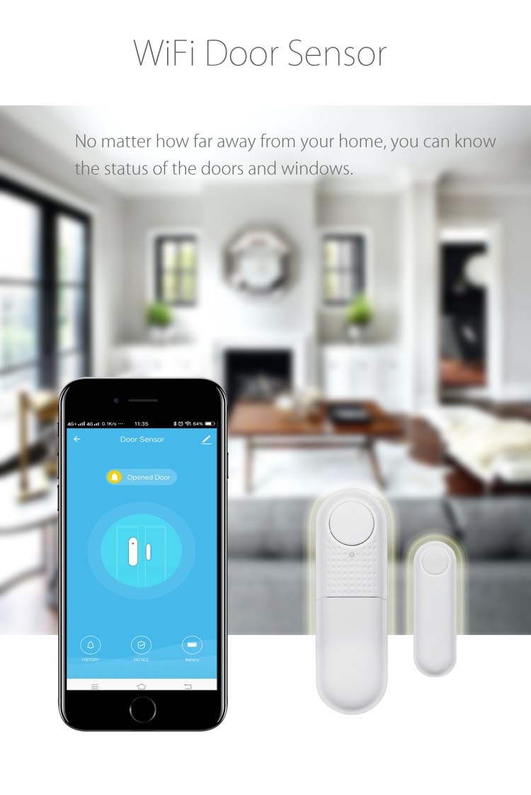 Wireless Door Sensor Security Alarm System for Home  Burglar Alert