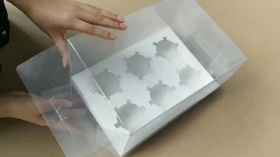 Alta Qualtity Caixa de PVC Transparente 6 Forminhas De Muffin Padaria Caixa de Uso Da Indústria de Embalagem de Alimentos Grau