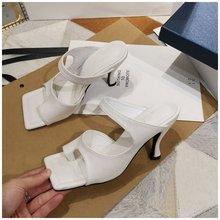 SUOJIALUN/2020; Фирменный дизайн; Женские тапочки; Элегантные босоножки с квадратным носком на высоком каблуке; Высококачественная Уличная обувь ...(Китай)