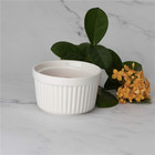 Modern fancy colorful round ceramic ramekin baking tray custom souffle dish for restaurant